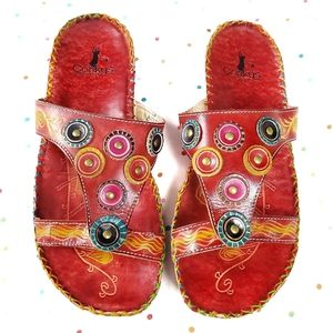 CORKYS Keywest Red Multicolor Tribal Sandals 9